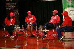 Kerubo-Momanyi-Sylvia-Kamau-Ocholla-Cynthia-Mumbo-and-moderator-Florence-Nduta-during-their-panel-discussion-on-women-in-sports
