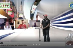 Chris-Kamau-moderating-the-panel-on-the-impportance-of-promoting-sports-through-films-with-Christina-RuizTaylor-Sharp-and-Timothy-Owase-on-set